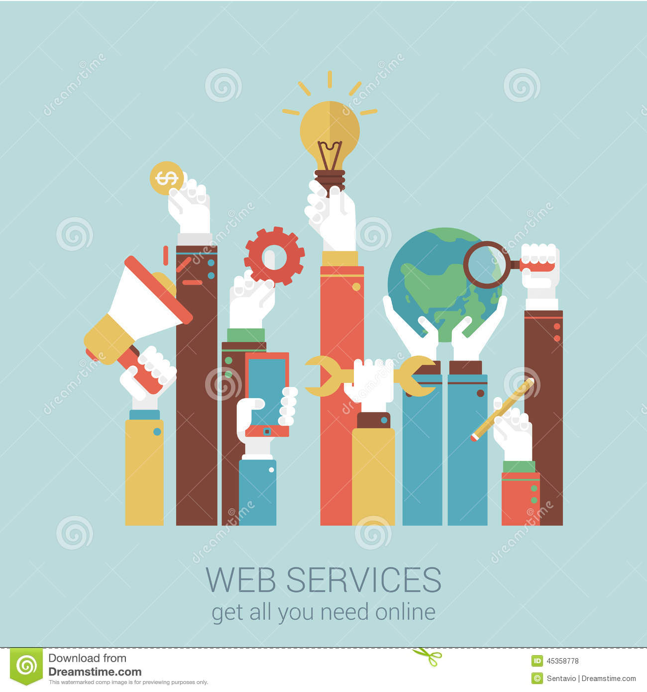 Online Internet Services Flat Style Vector Illustration