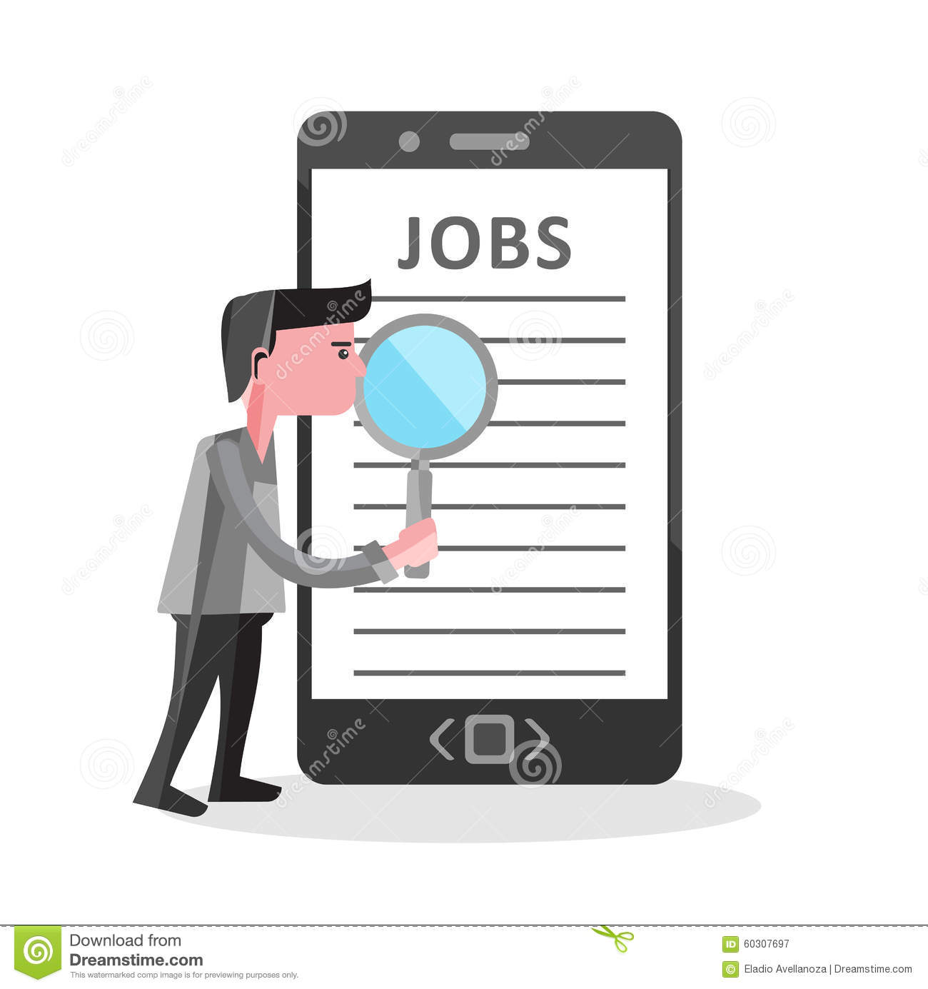 online job search on mobile phone illustration stock vector online job search on mobile phone illustration