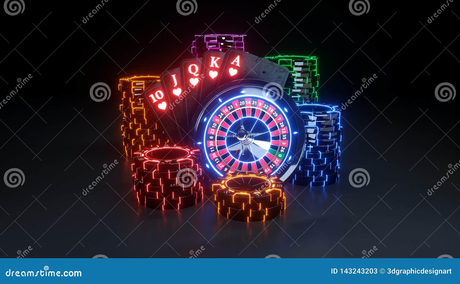 Online Kasynowy Uprawia hazard pojęcie Królewski sekwens - 3D ilustracja