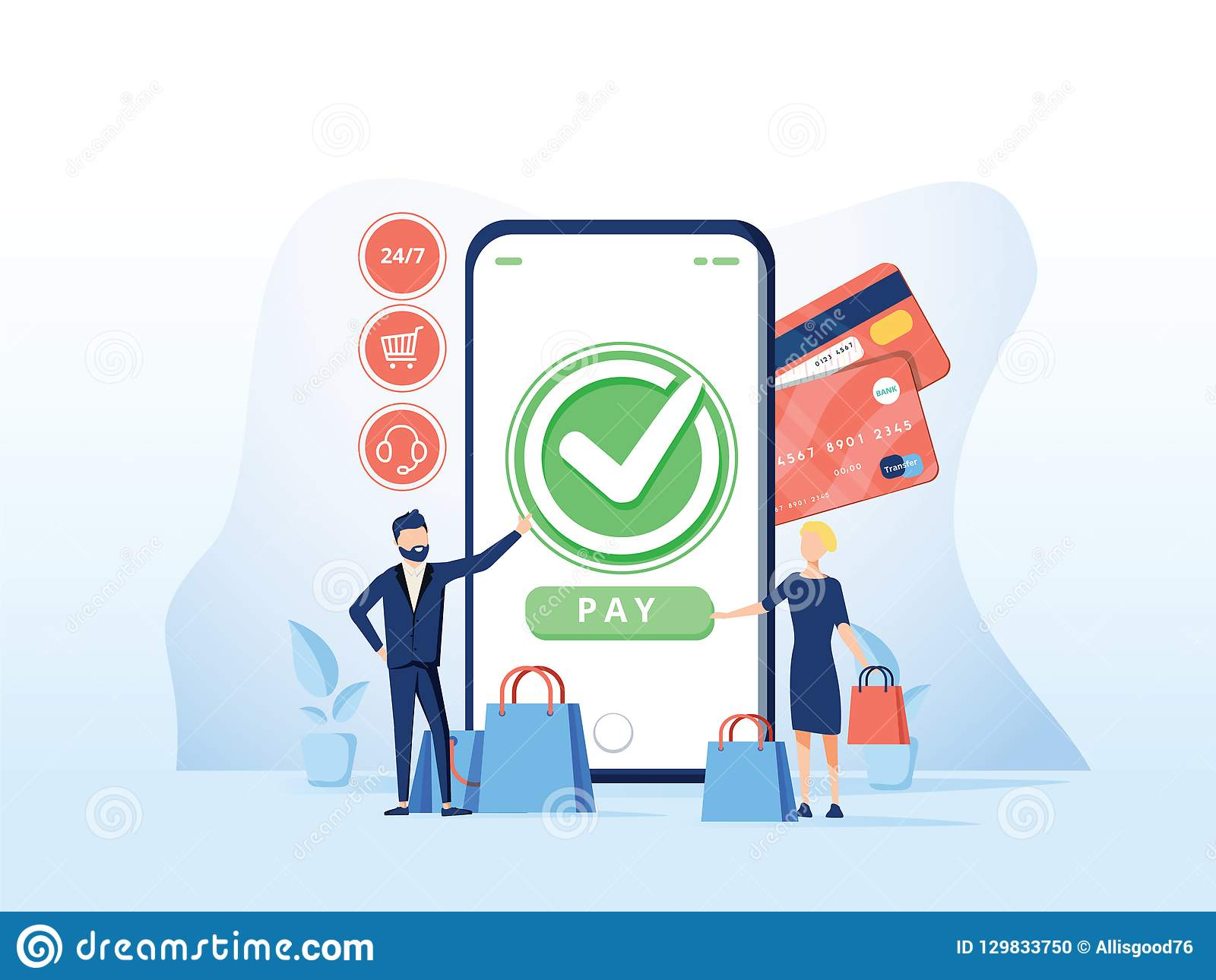 Online-kommersvektorillustration för e-affär eller e-kommers teknologi Mobil app för betalning med kreditkorten