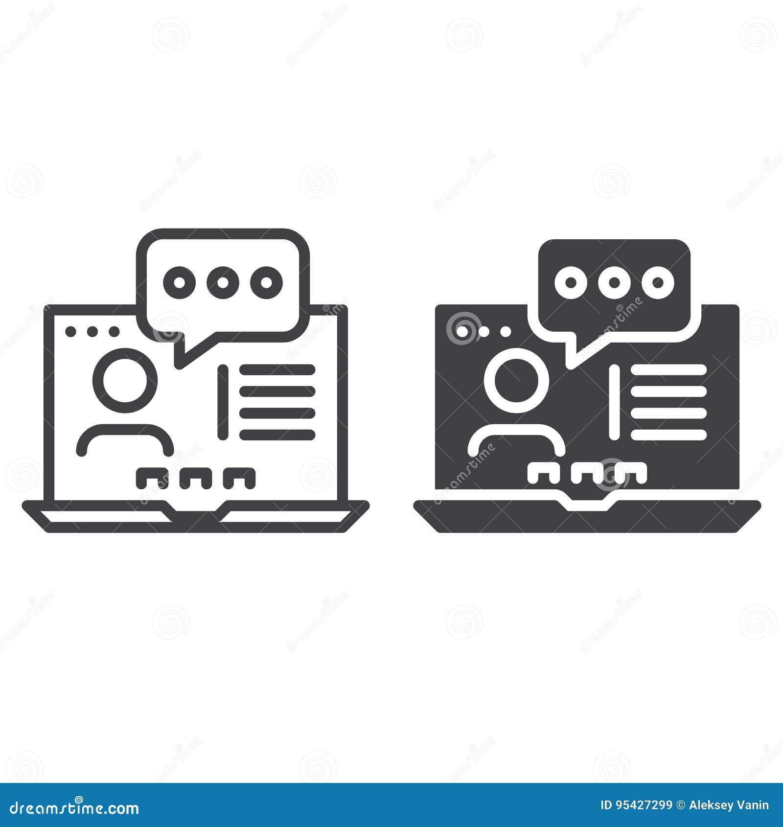Online konsultujący kontur i piktogram odizolowywających na bielu kreskową i stałą, wypełniającego wektoru znaka, liniowego i peł