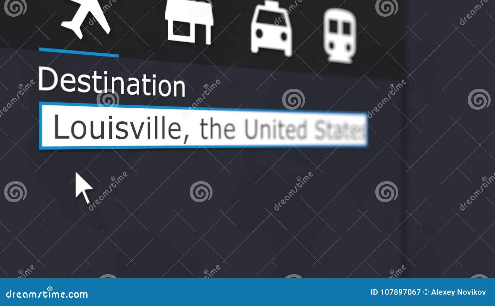 Online kopend vliegtuigkaartje aan Louisville Het reizen naar het conceptuele 3D teruggeven van Verenigde Staten