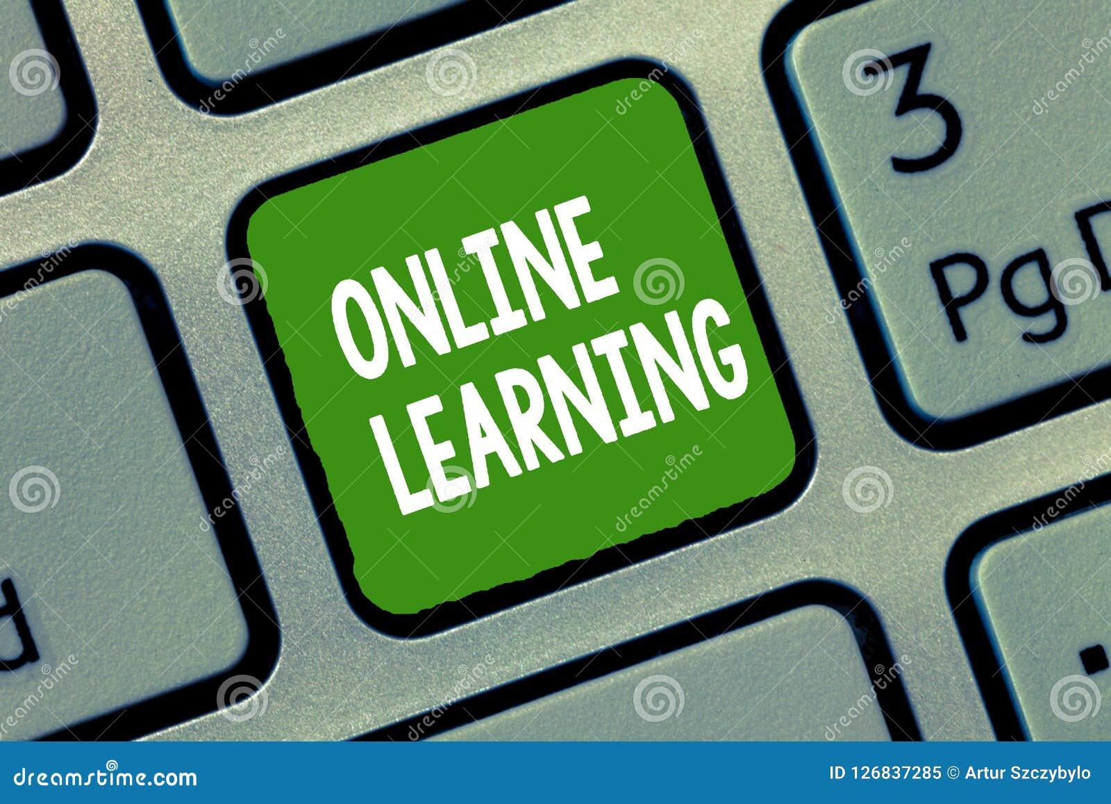 Online-lära för handskrifttext Begrepp som betyder Larning med hjälpen av internet och en dator