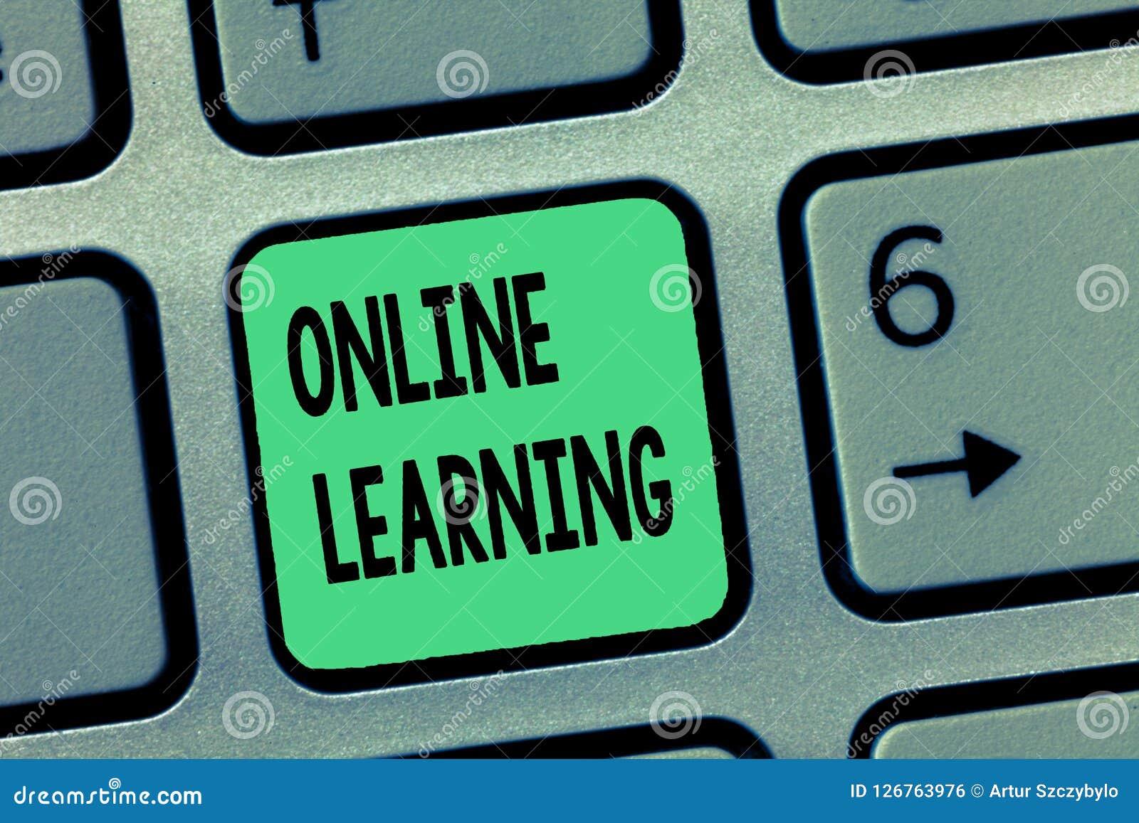 Online-lära för ordhandstiltext Affärsidé för Larning med hjälpen av internet och en dator