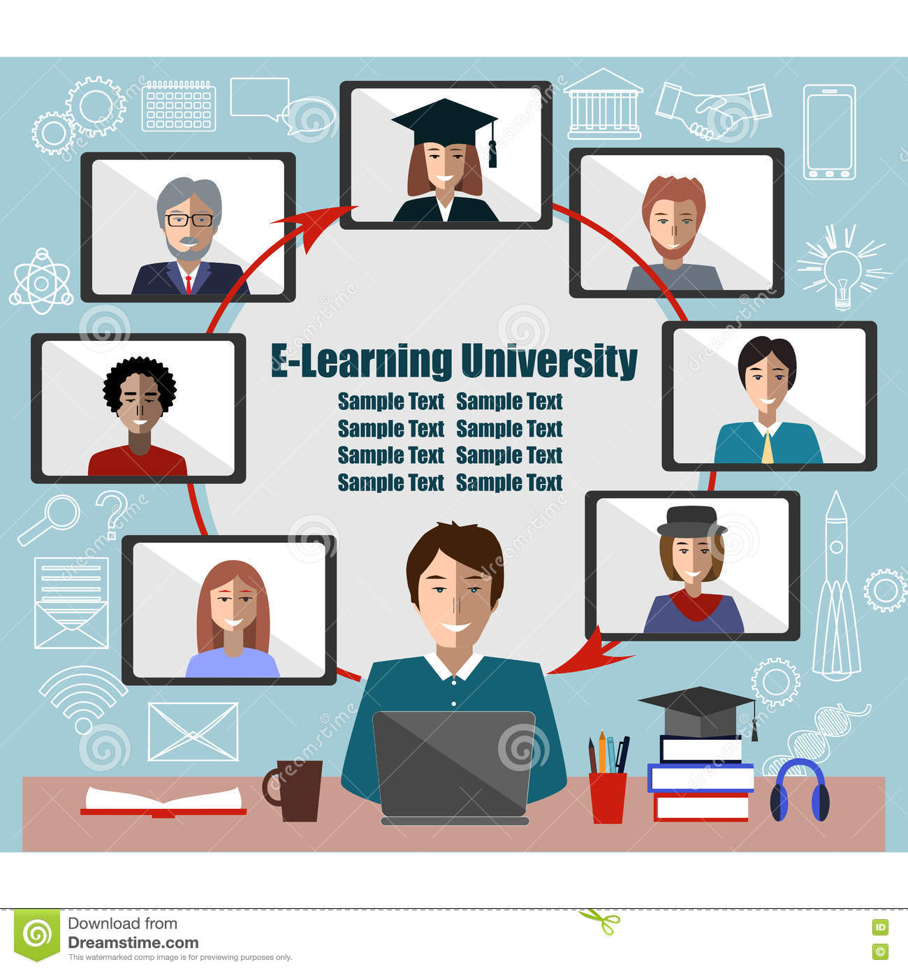 Online Learning Concept Teacher And Students Group Place