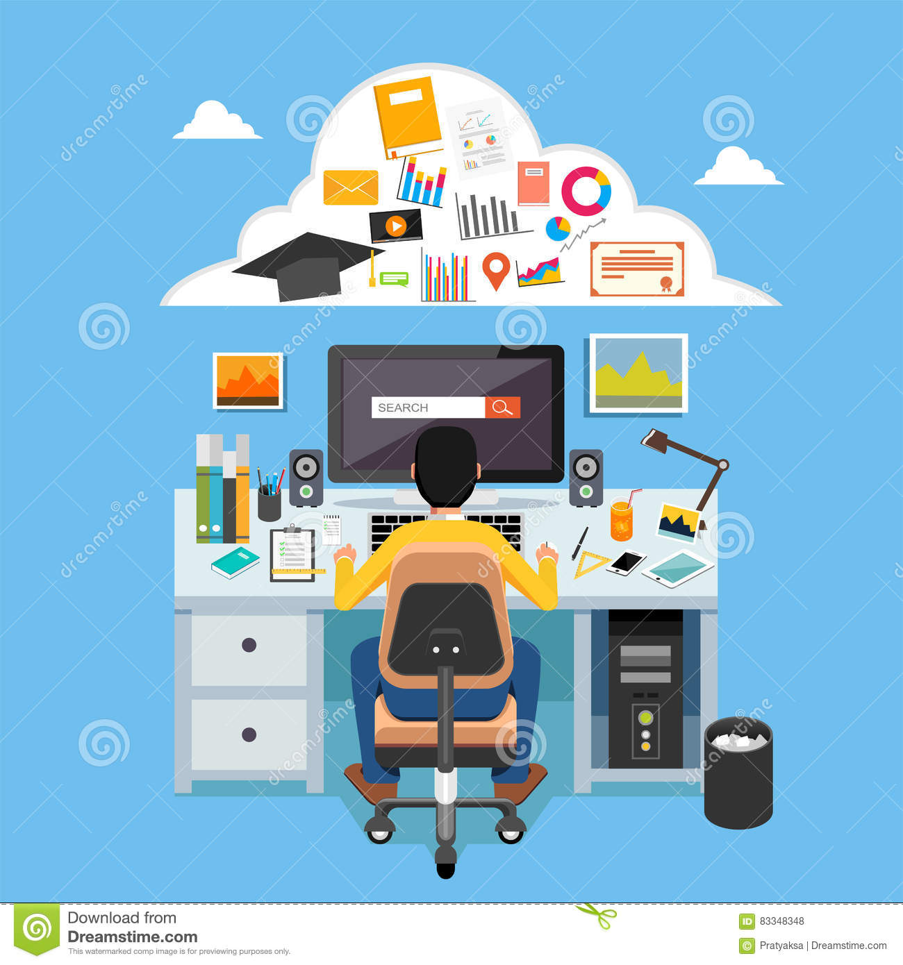 Online Learning E Learning Online Education Distance Learning Education Online Course Student Studying On Computer Stock Vector Illustration Of Element Desk 83348348