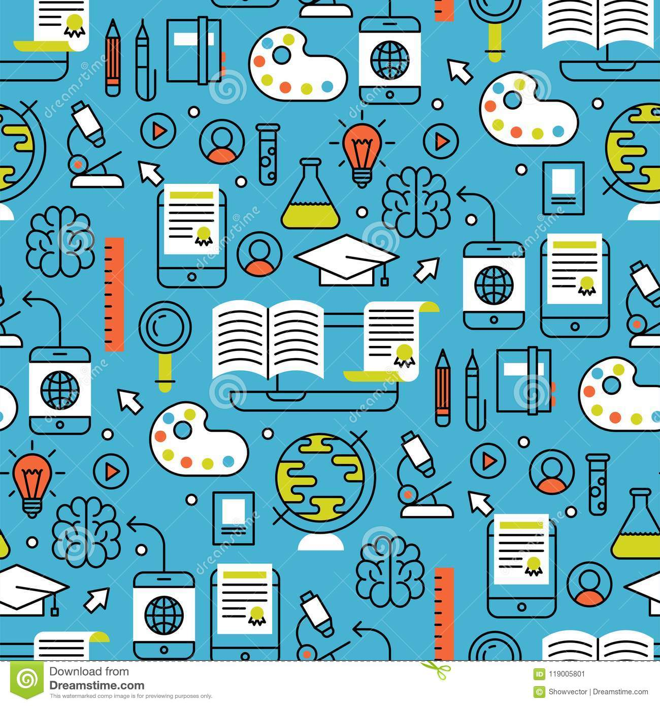 Online Learning Flat Design Distant Education Seamless