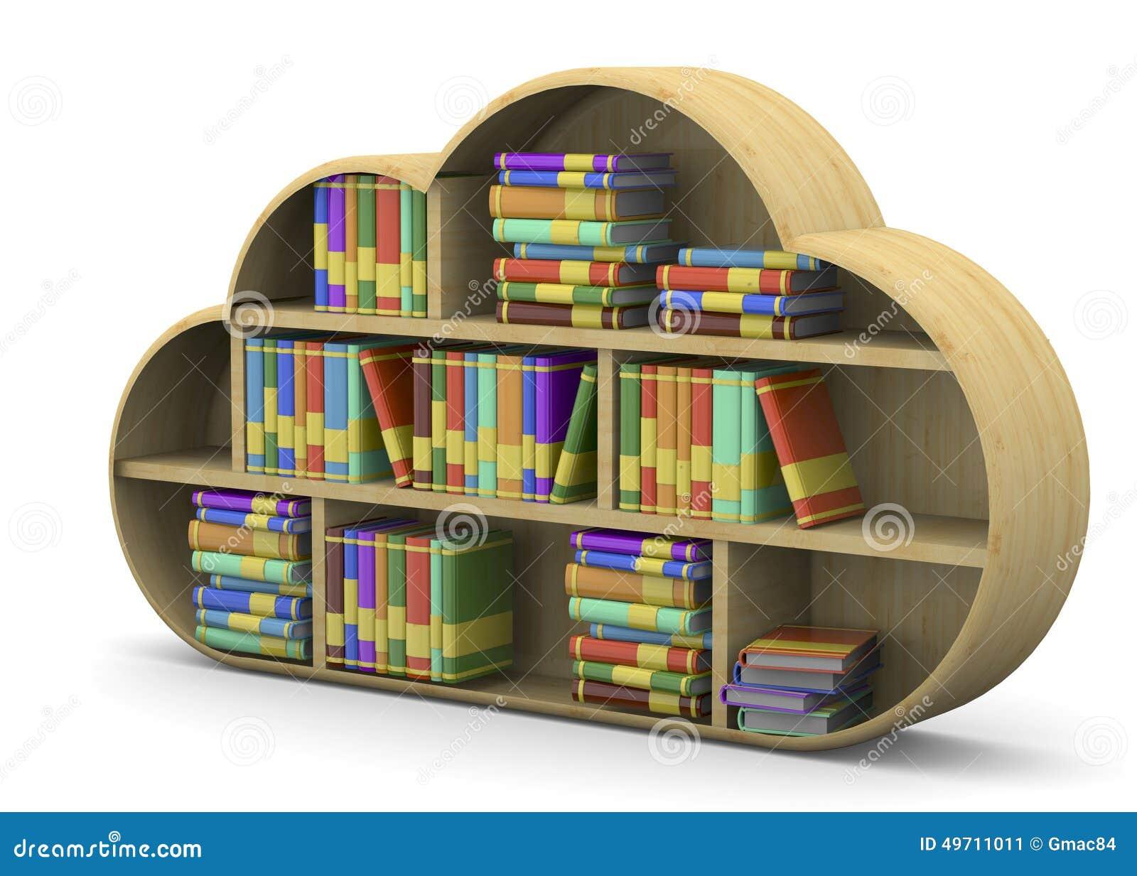 Online library concept 3d stock illustration image 3d on line