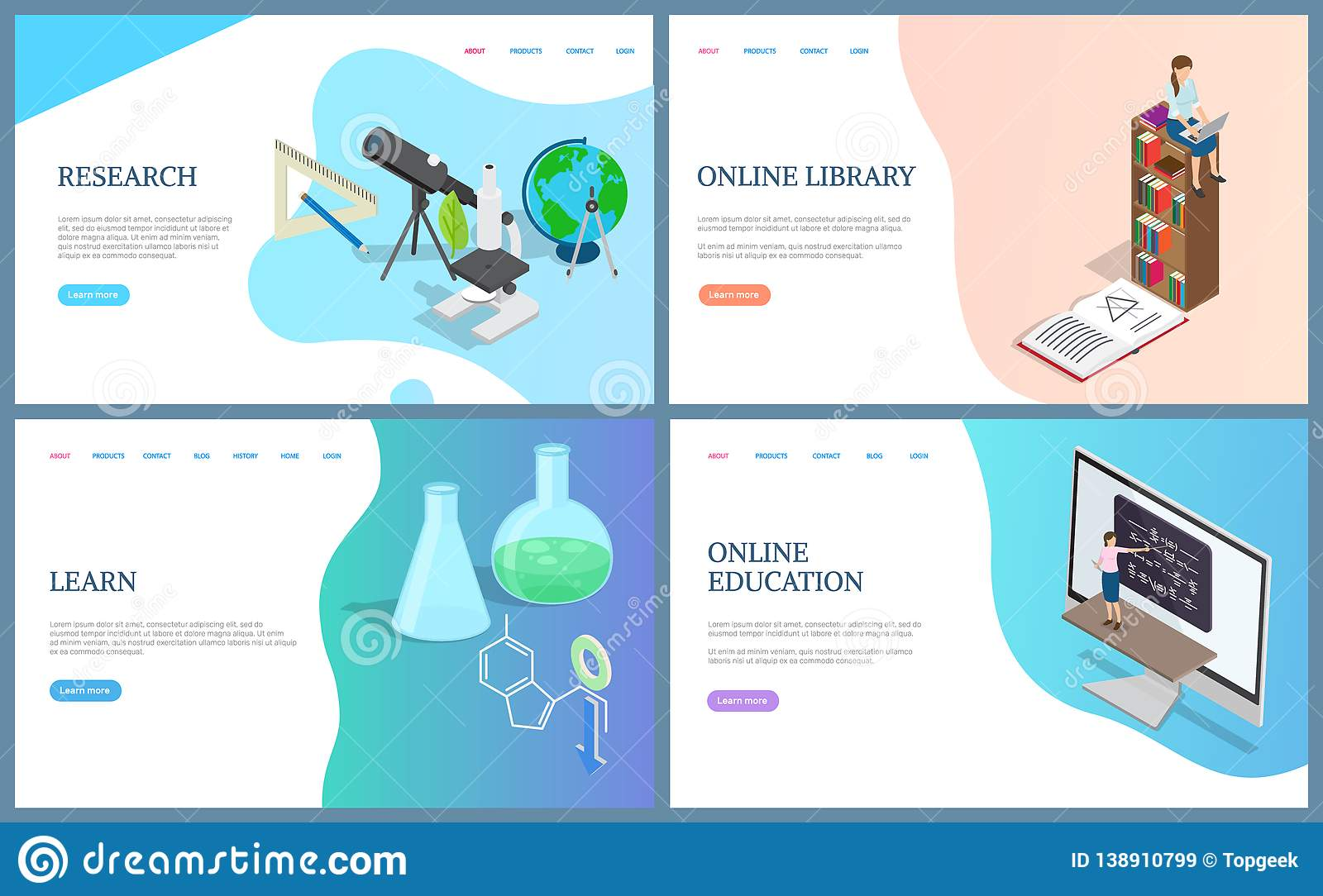 Online Library Books, Education Research Learning Stock