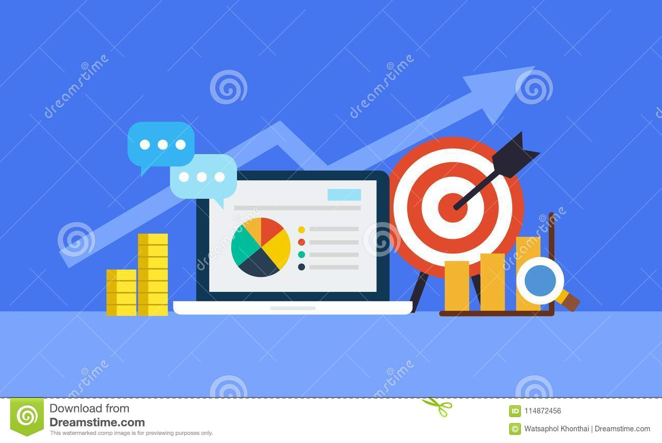 Online marketing concept. Strategy and report of online shopping or online campaign