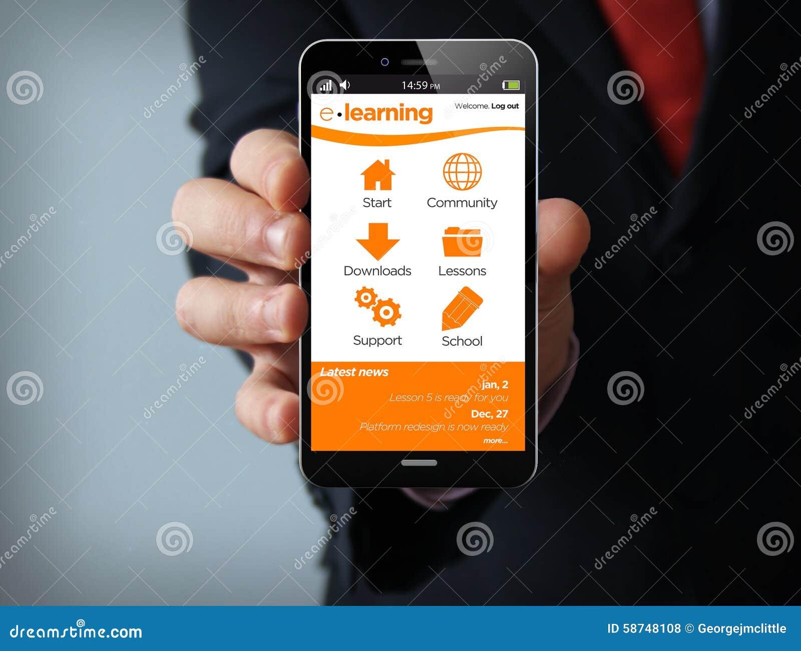 Technology Management Image: Online Marketing E-learning Smartphone Stock Photo