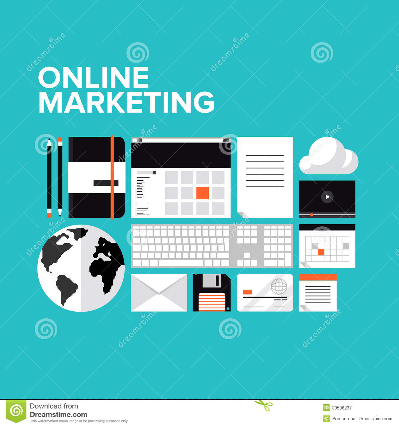 Online Marketing Flat Icons Set Stock Vector Image 39506237