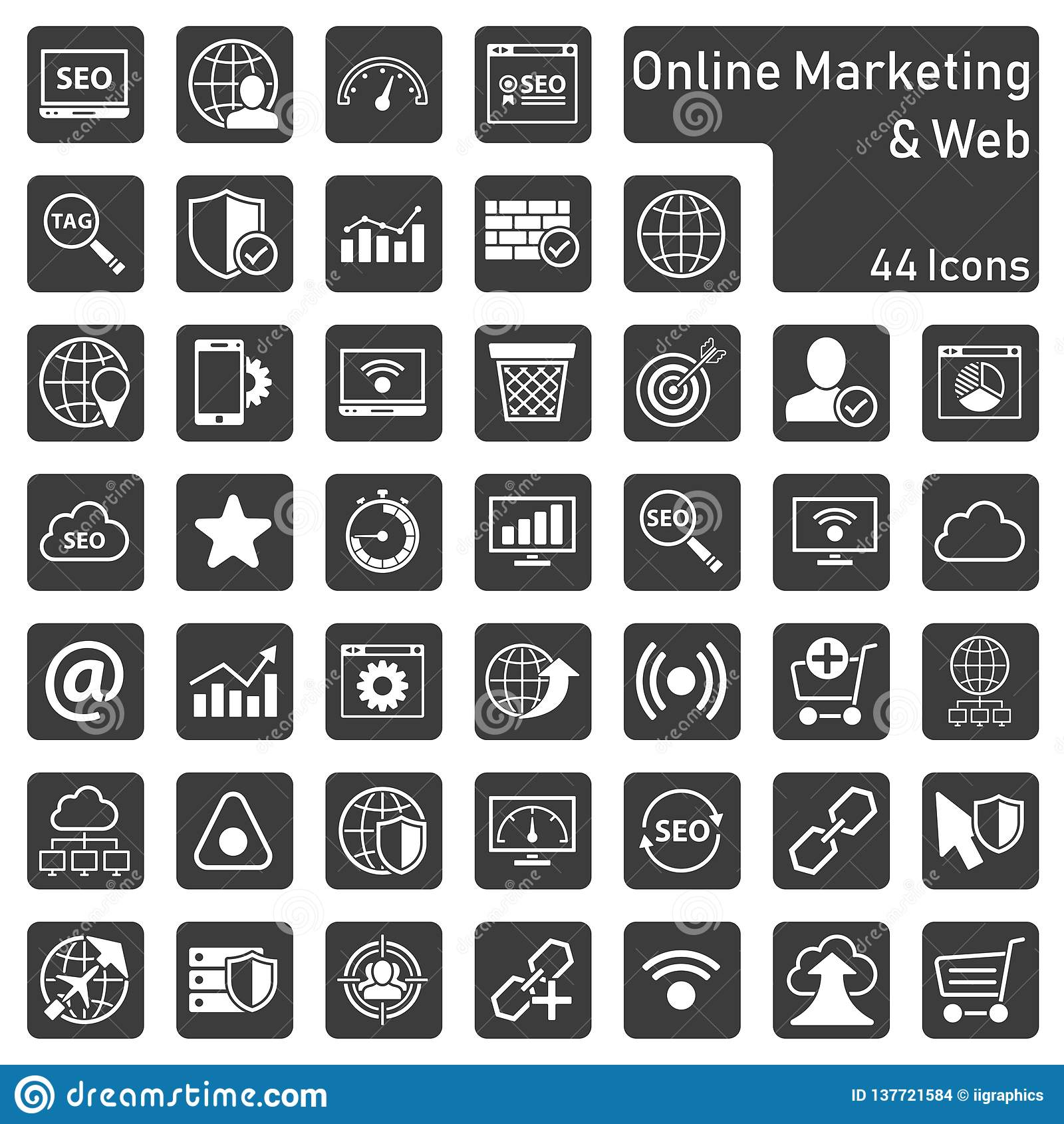 Online-marknadsföra symbolsuppsättning