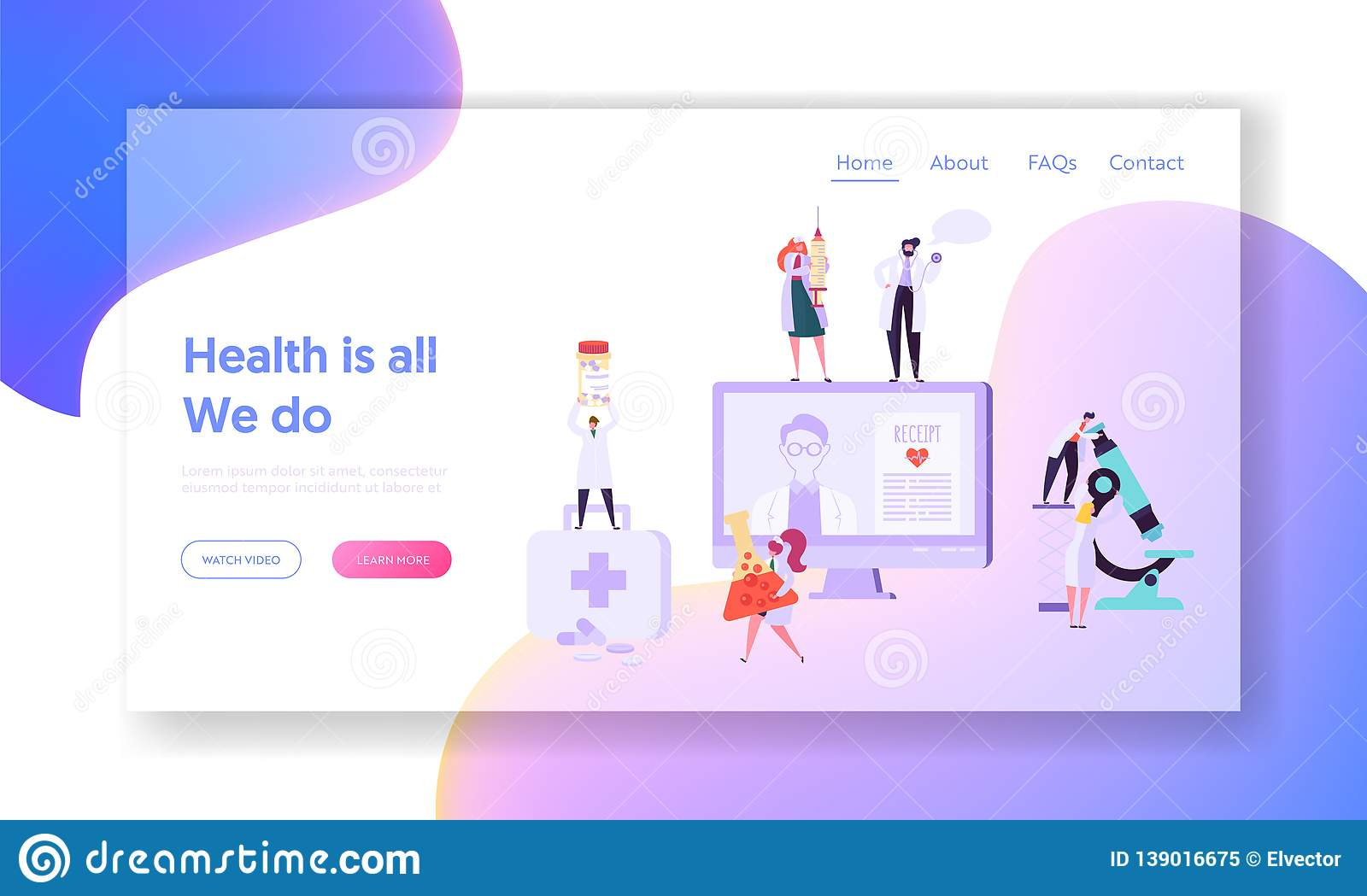 Online Medicical Health Care Concept Landing Page. Digital Clinic Receipt for Patient. Hospital Doctor Character