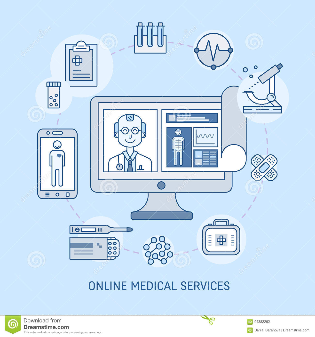 Online medicine concept stock vector image 94382262 for Online architect services