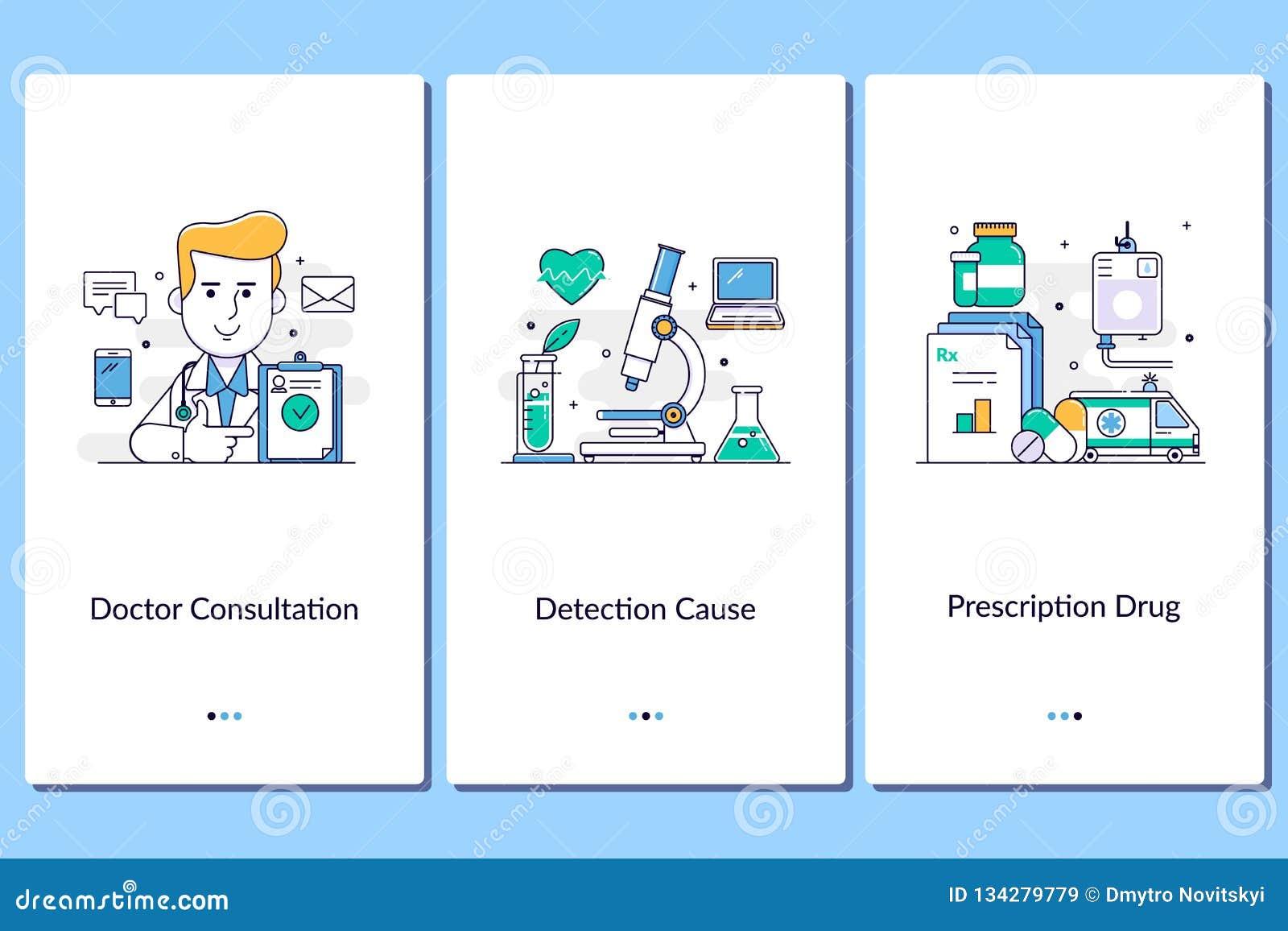 Online medische steun, Mobiele medische apps Arts, verpleegster, kliniek, behandeling, anamnese De medische grafische dienststapp