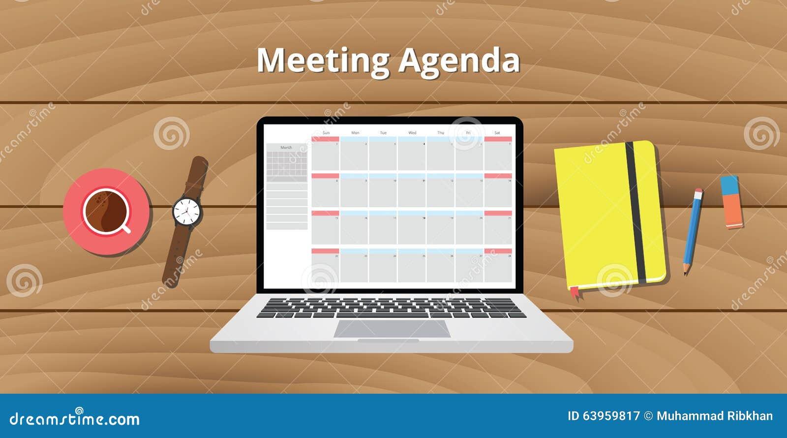 Online Meeting Agenda Calendar Notebook Notes Watch Stock