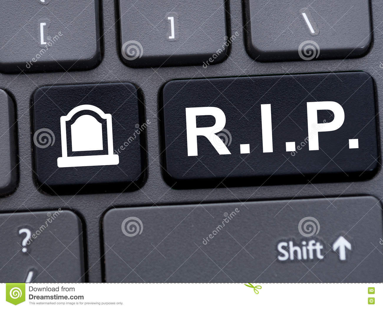 Online Memorial Concept With R I P  Abbreviation Stock Photo