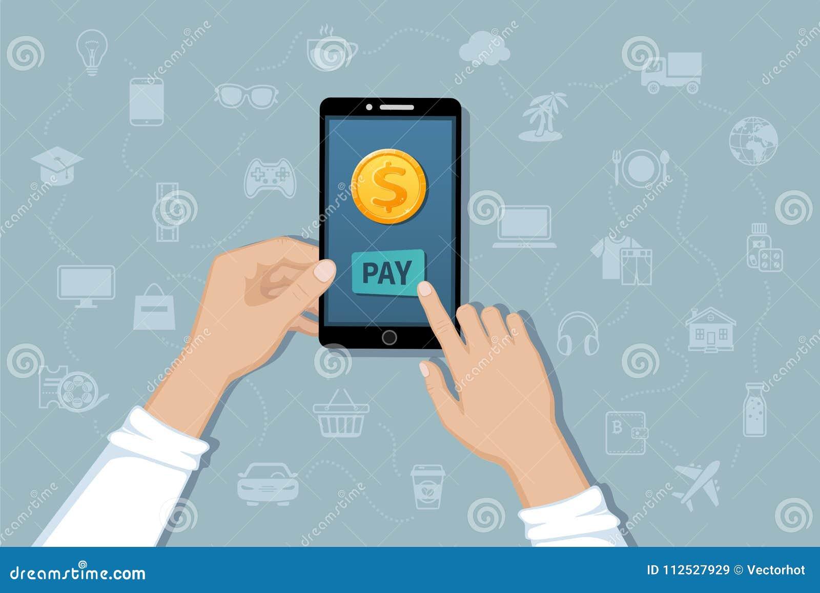Online-mobil betalning, service för pengaröverföring Lön för varor och tjänst vid cashless betalningar Hand som rymmer en telefon