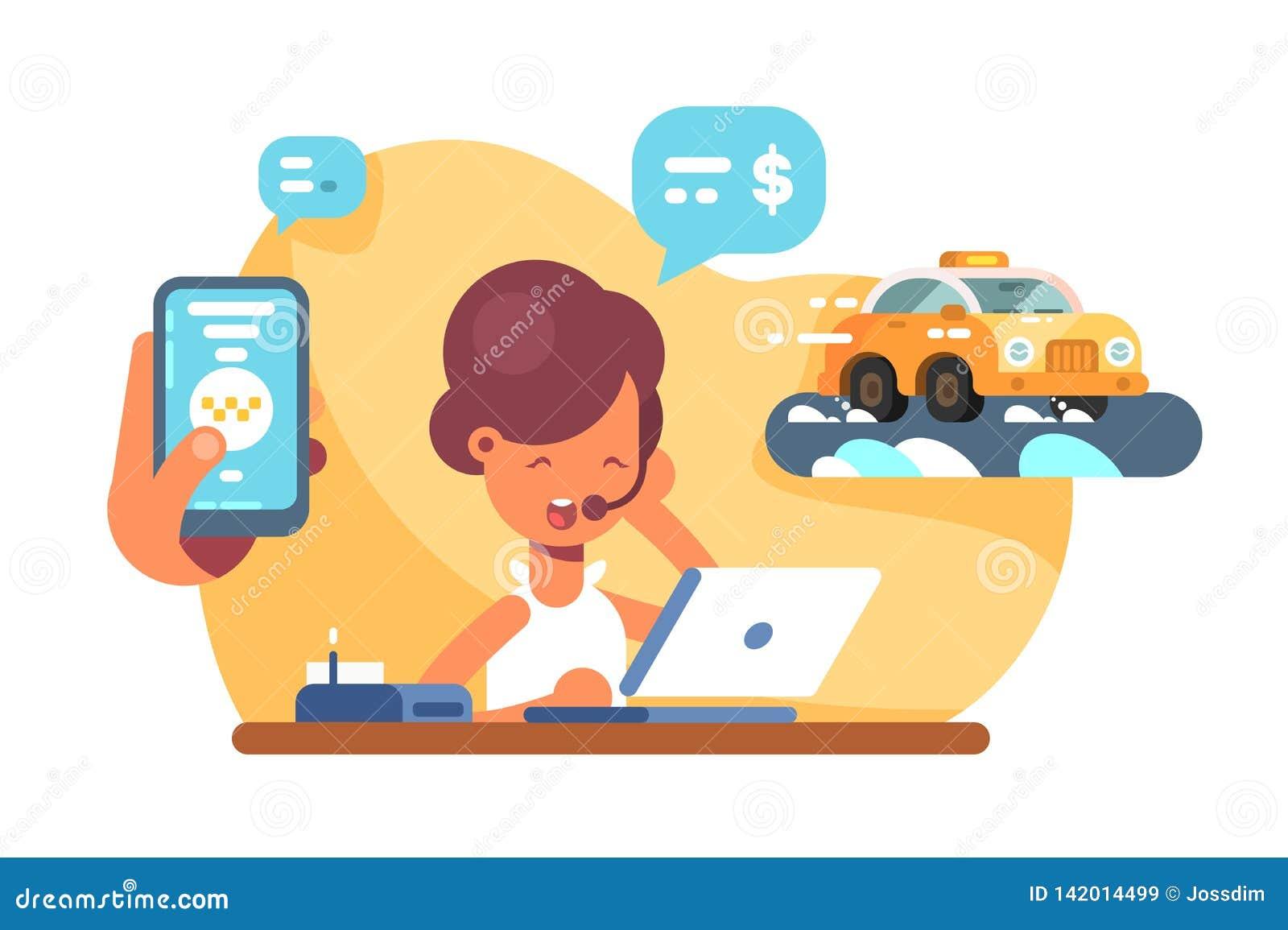 Online mobile city taxi transportation