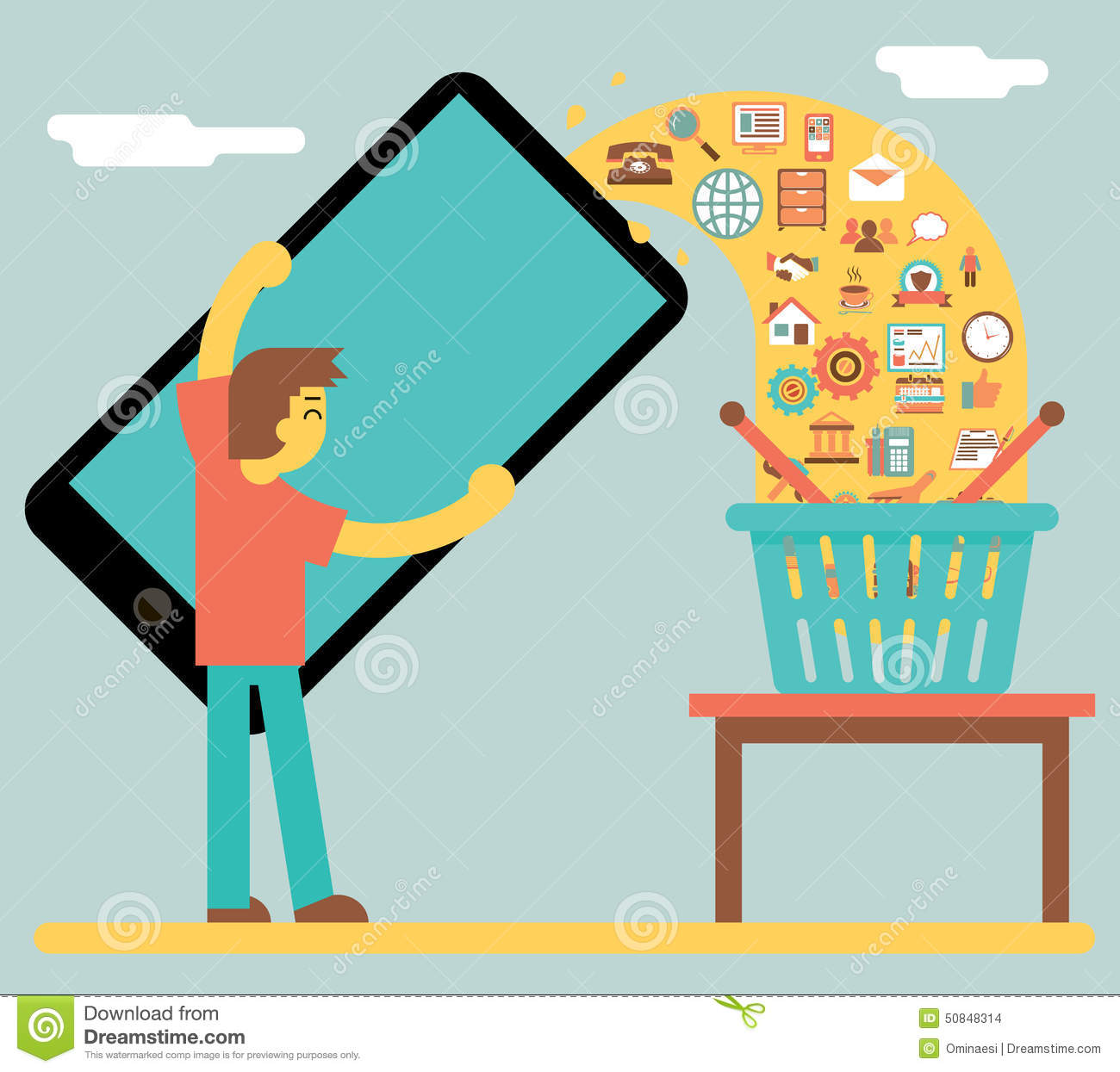 Online mobile marketing sale and buy concept icon stock for Online retailer for sale