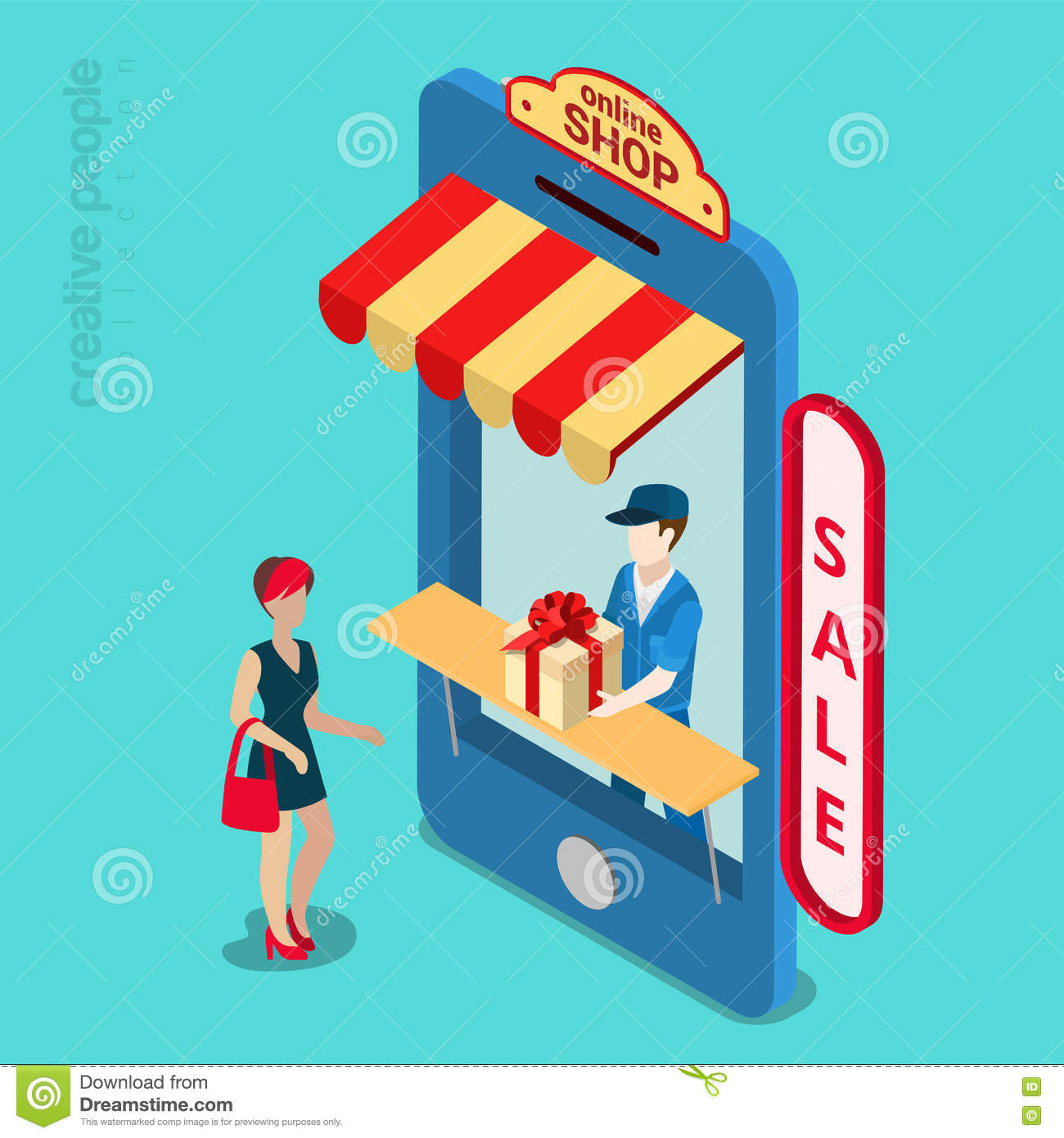 Shop and delivery isometric 3d top side view cartoon for Online art stores us