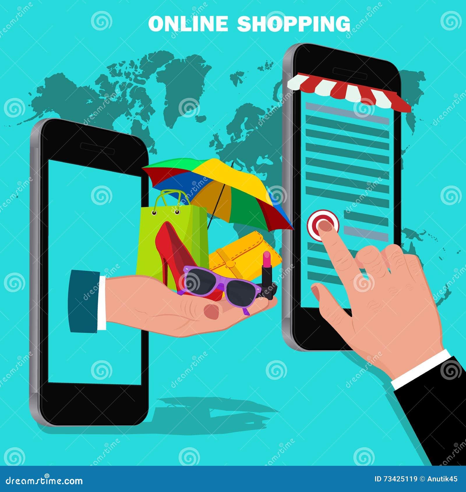online shopping mobile shopping vector concept cartoon vector 67065601. Black Bedroom Furniture Sets. Home Design Ideas