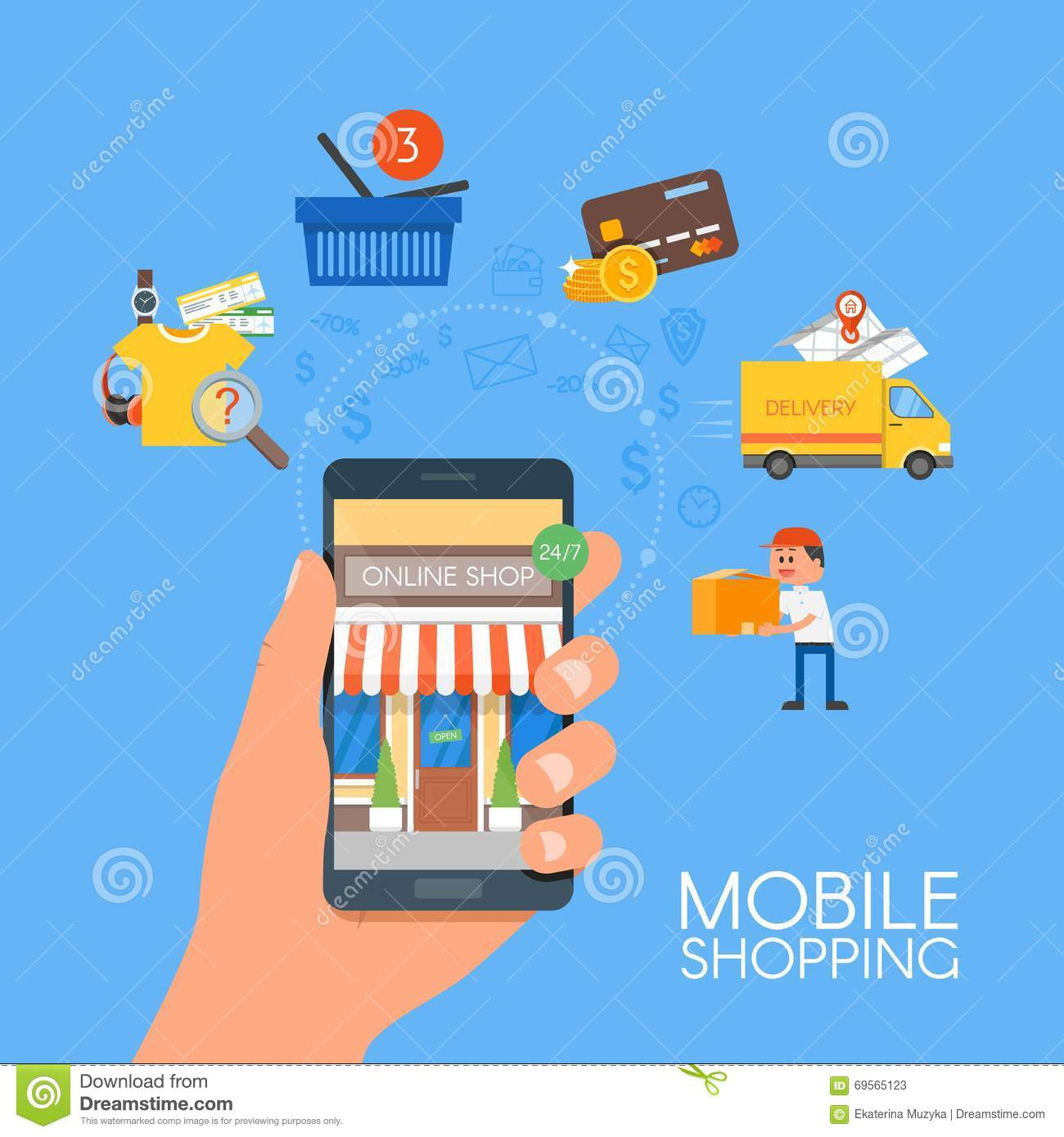 Online mobile shopping concept vector illustration in for Onlineshop fur mobel