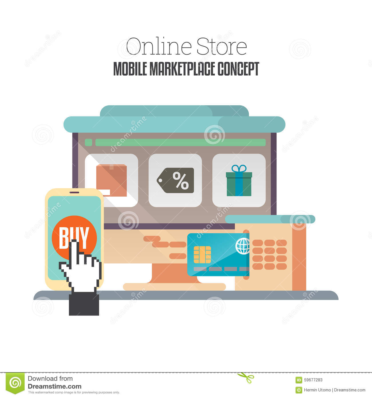 Online mobile store stock vector illustration of icon for Mobili store online