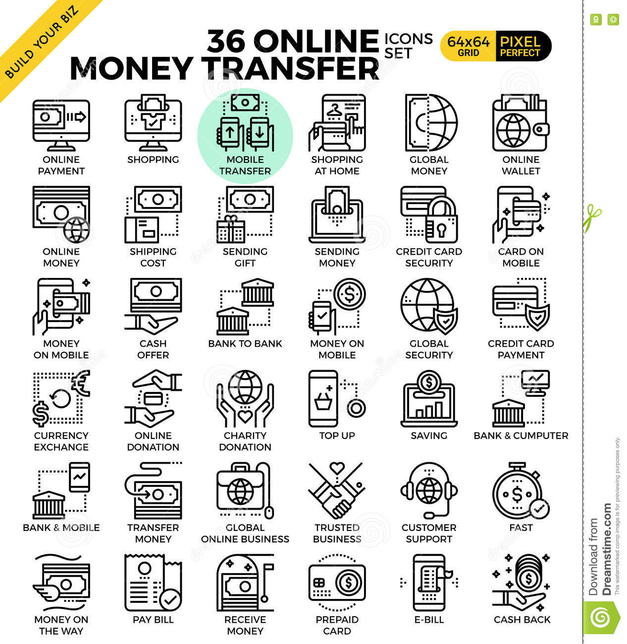 Online Money Transfer Payment Icons Stock Image - Image of coin ...