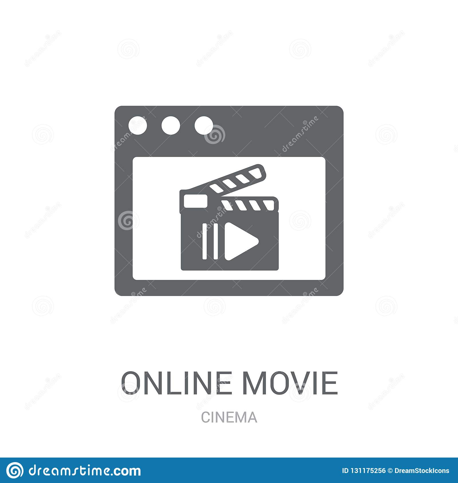 Online movie icon. Trendy Online movie logo concept on white background from Cinema collection