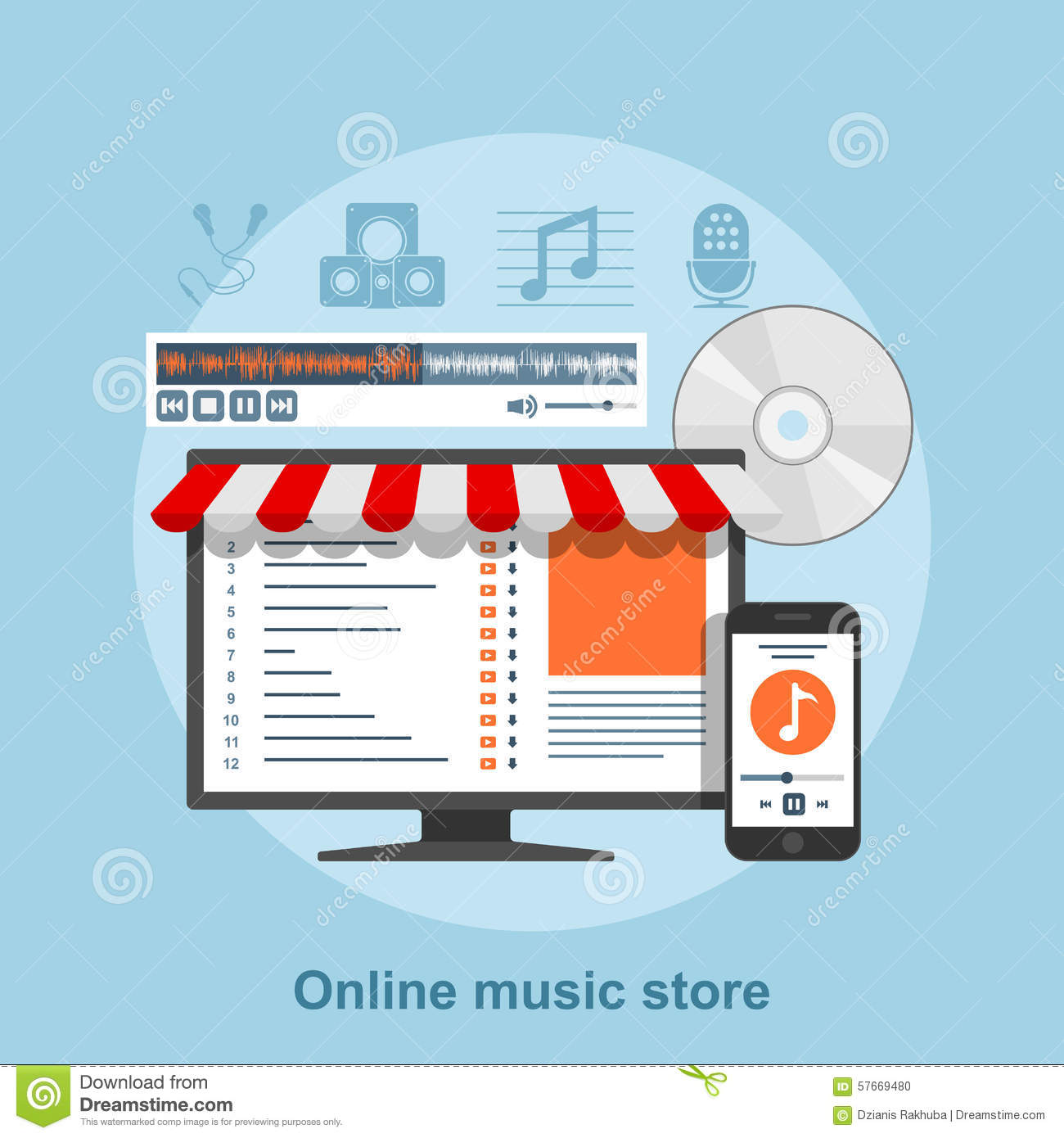 Online music store stock vector  Illustration of purchase