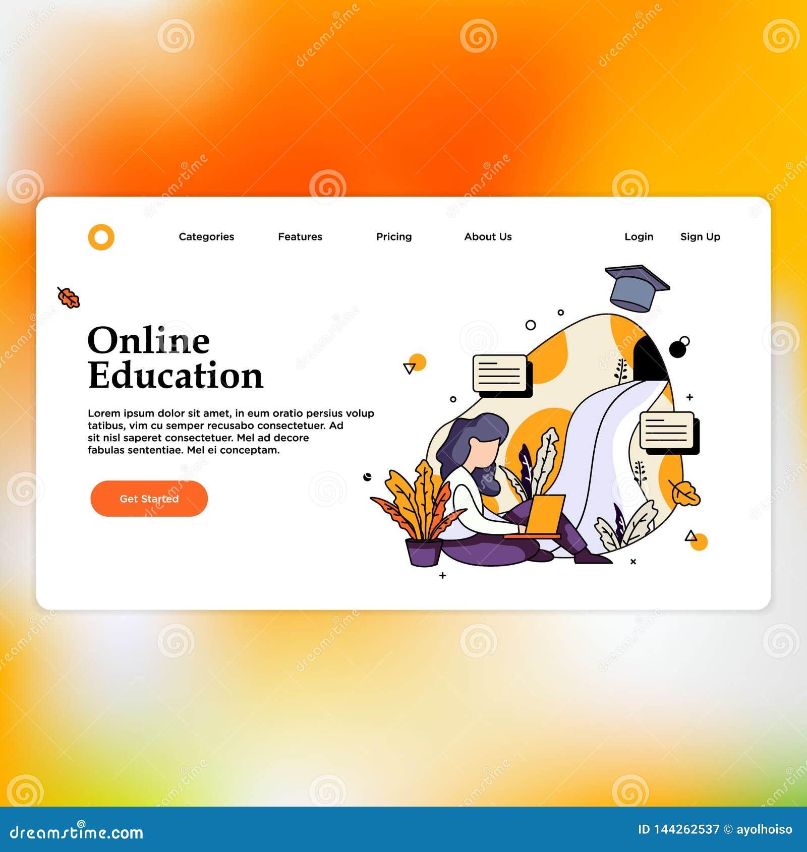 Online Onderwijs voor website en mobiele website Landend Paginamalplaatje