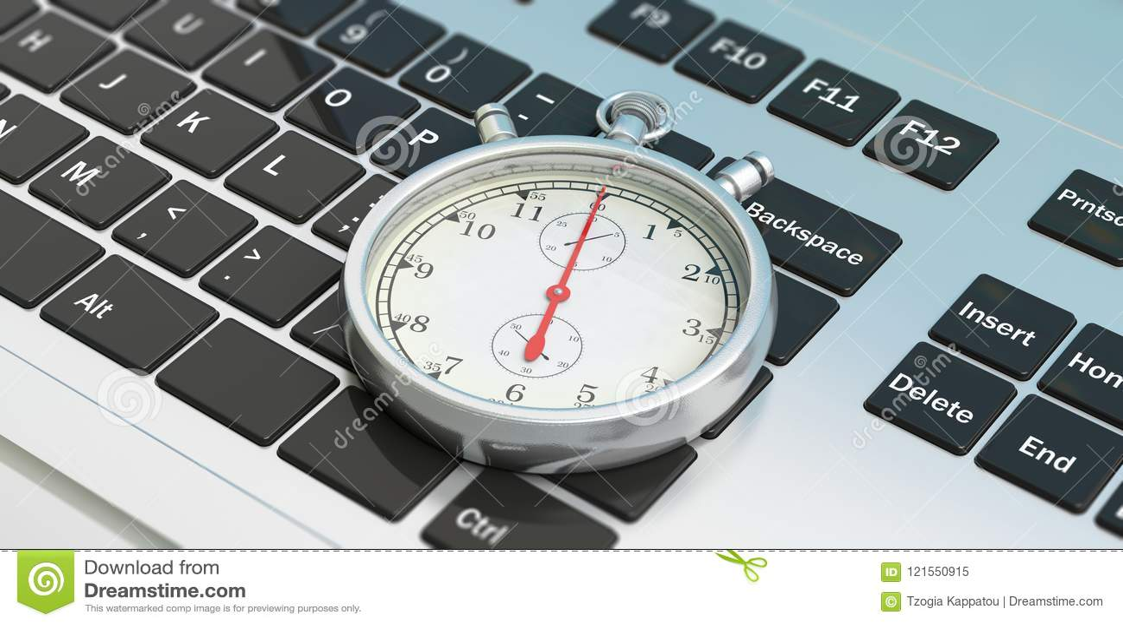 stopwatch timer on computer laptop keyboard 3d illustration