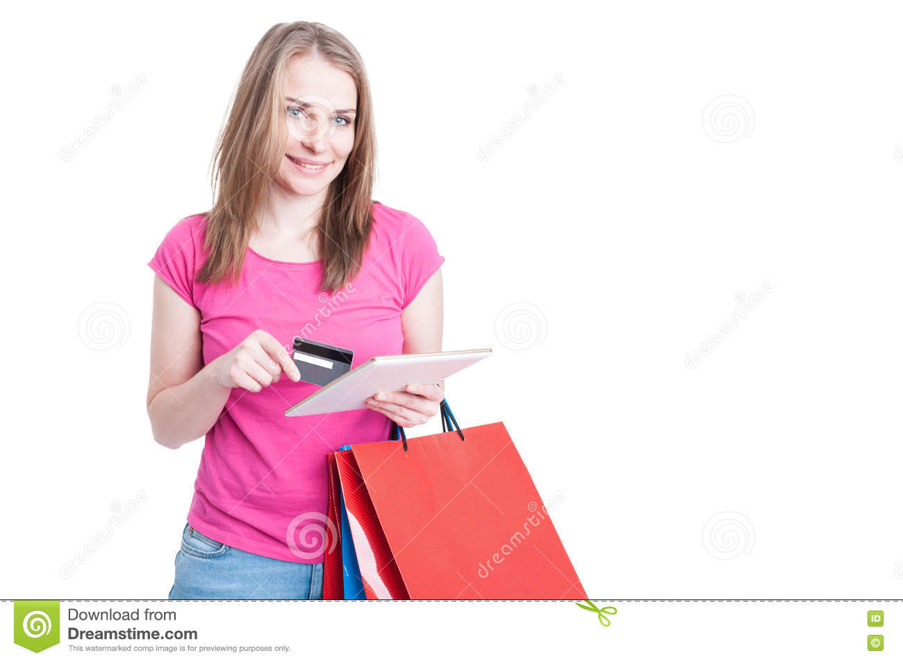Online payment concept with young woman doing shopping