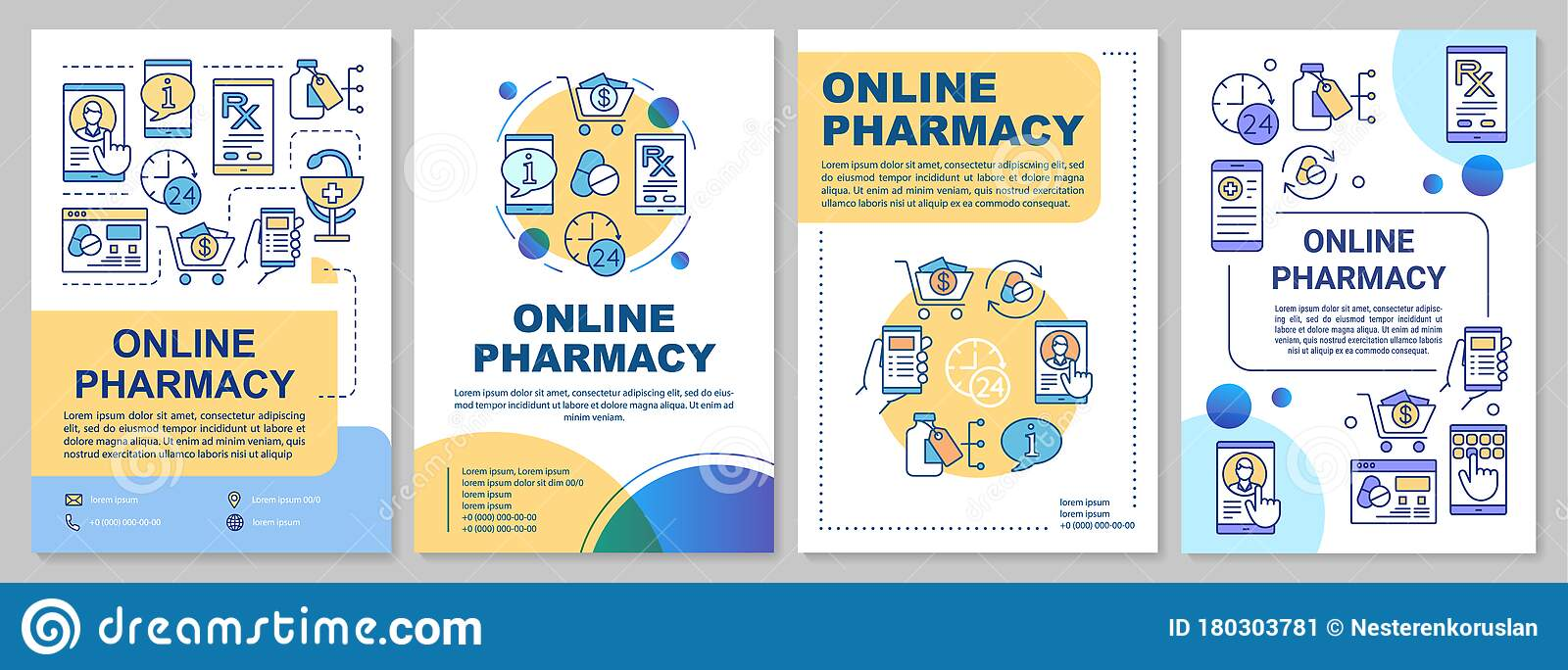 Online Pharmacy Brochure Template Layout. Internet Drugstore Throughout Pharmacy Brochure Template Free