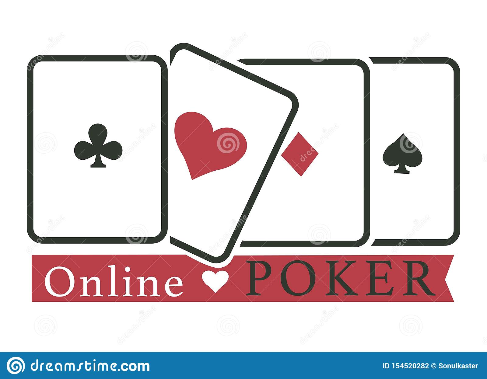 Online Poker Club Casino Gambling Play Cards Stock Vector Illustration Of Play Equipment 154520282