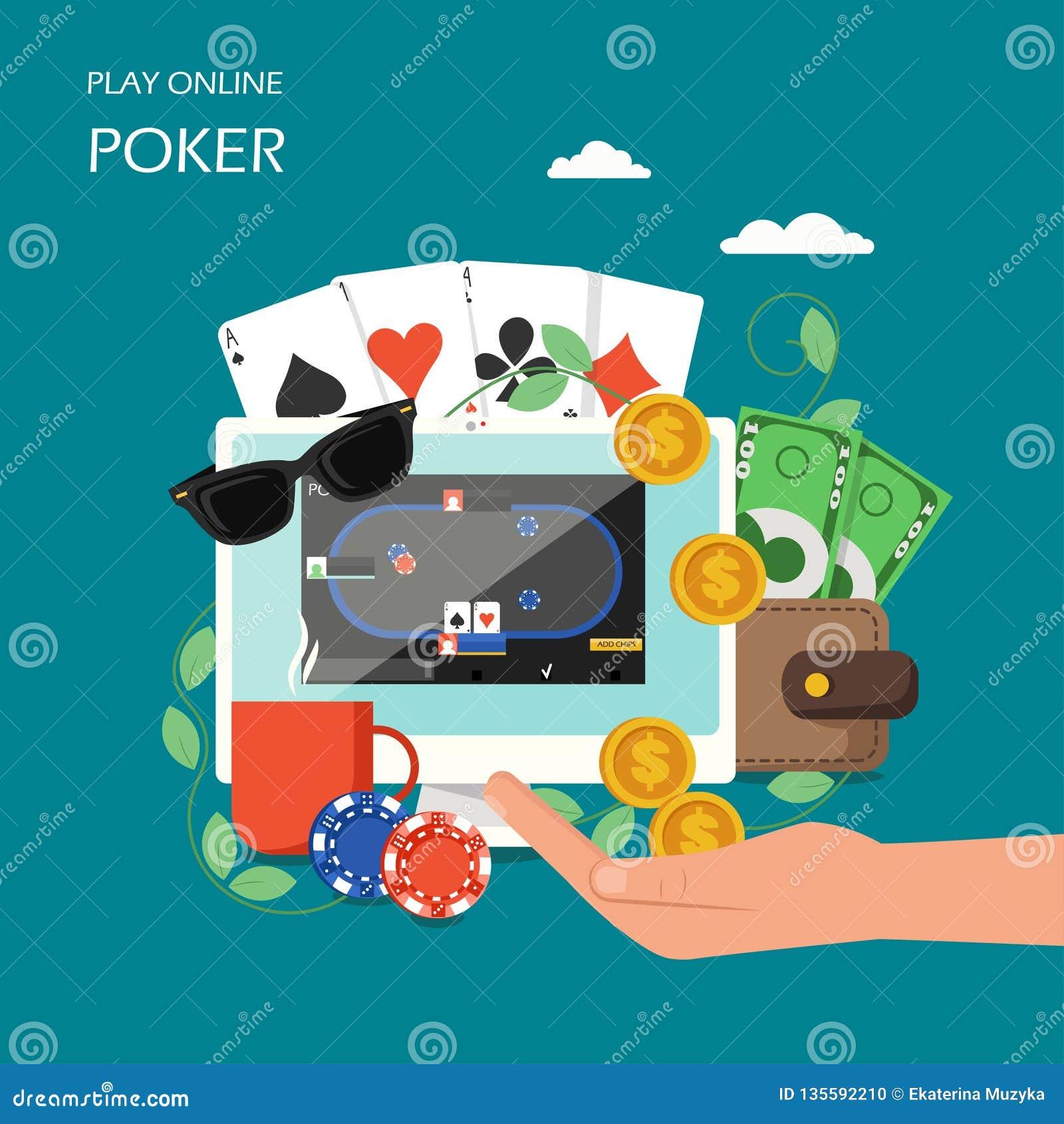 Online Poker Vector Flat Style Design Illustration Stock