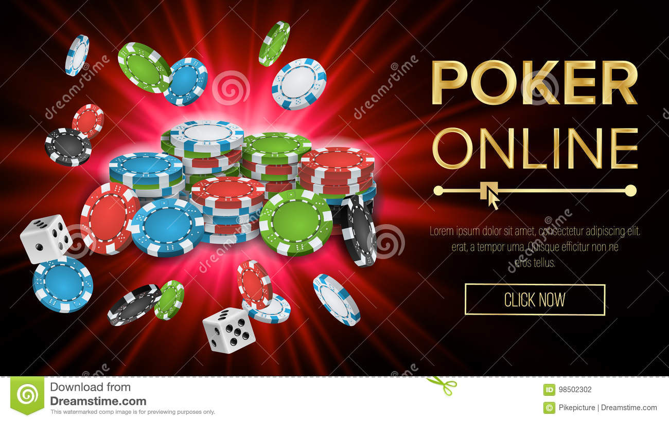 Online Poker Vector. Gambling Casino Banner Sign. Explosion Chips, Playing Dice. Jackpot Casino Billboard, Signage