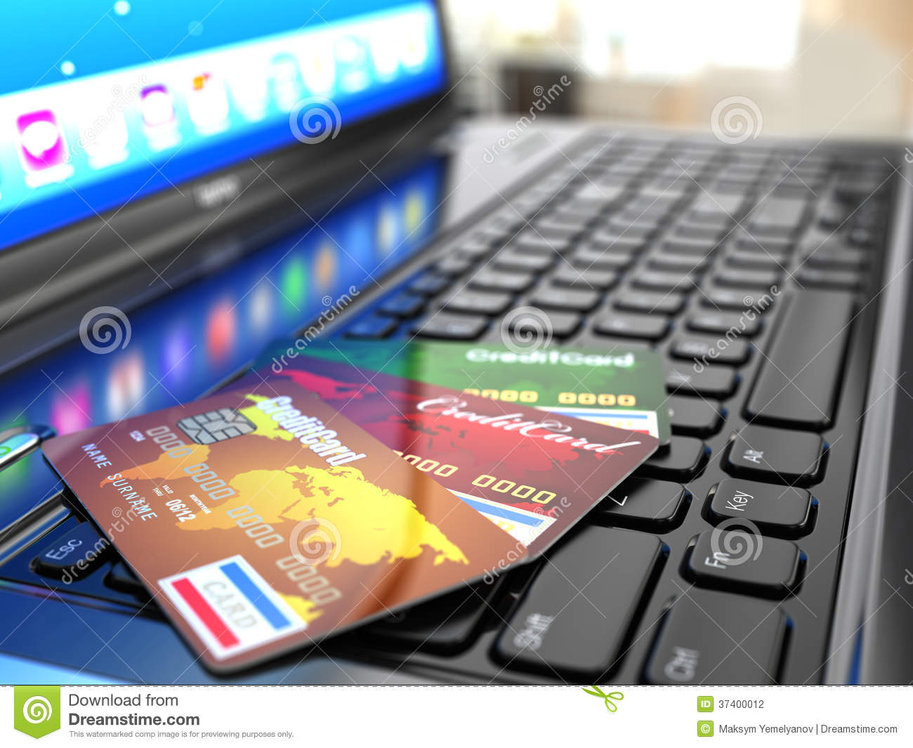 Stock Photography: Online purchase. Credit card on laptop keyboard
