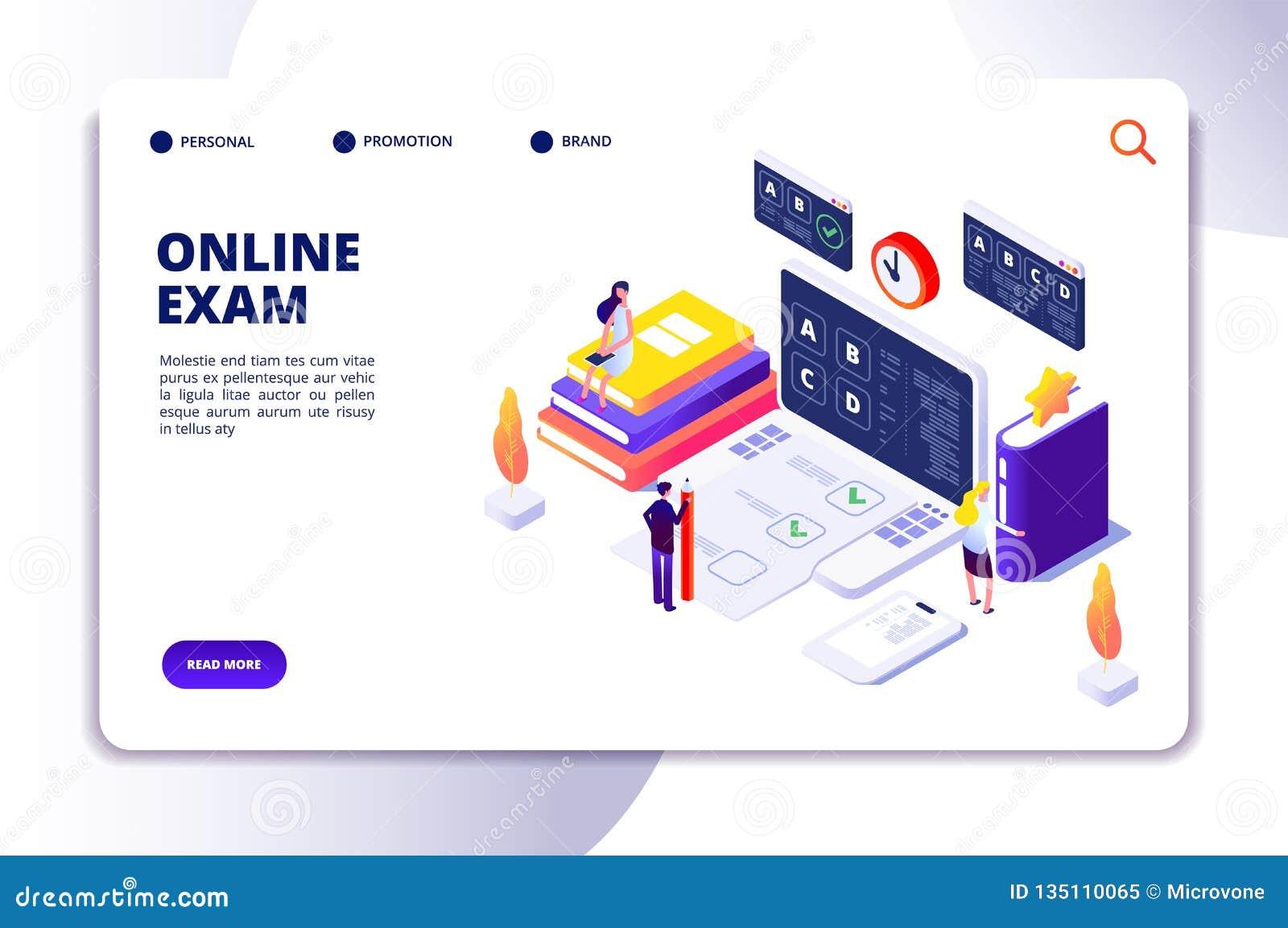 Online Questionnaire Isometric Concept  Exam Quiz Application