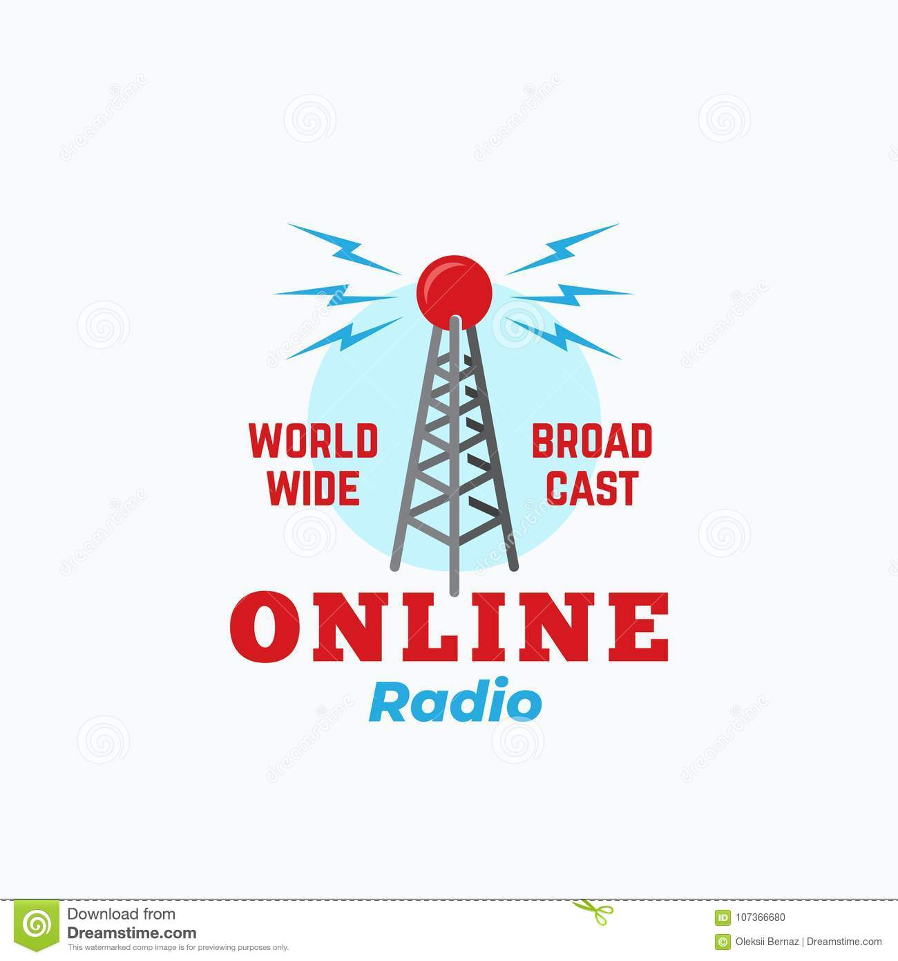 Online Radio Abstract Vector Sign Symbol Or Logo Template Vintage