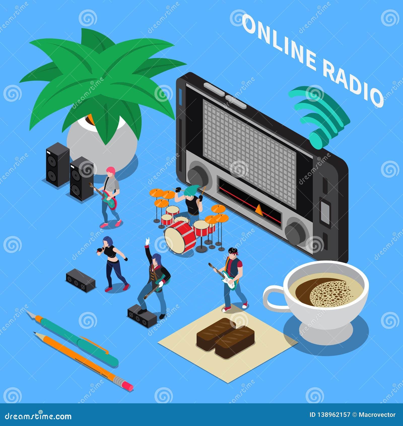 Online Radio Isometric Composition Stock Vector - Illustration of