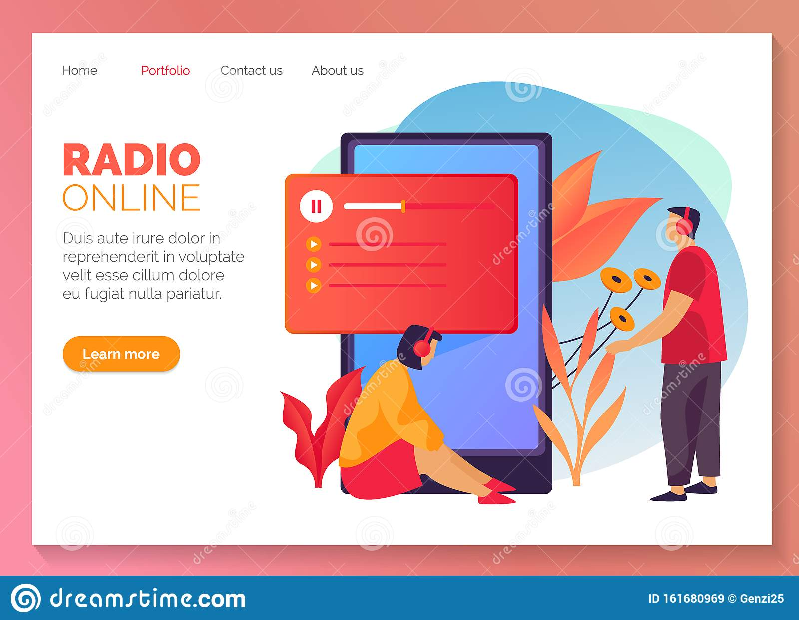 Online Radio And Streaming Music Website Banner Stock Vector Illustration Of Headphone News 161680969