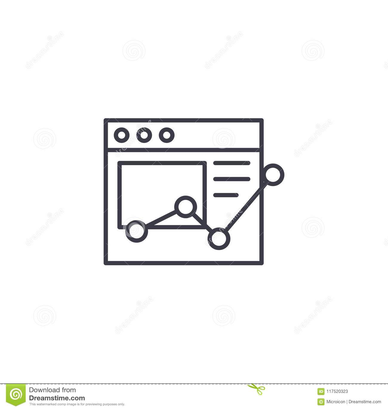 Online raportowy liniowy ikony pojęcie Online raport linii wektoru znak, symbol, ilustracja