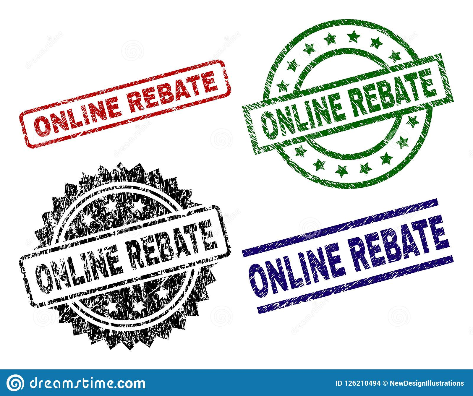 ONLINE REBATE seal prints with damaged surface. Black, green,red,blue  vector rubber prints of ONLINE REBATE text with dust surface. Rubber seals  with circle ...