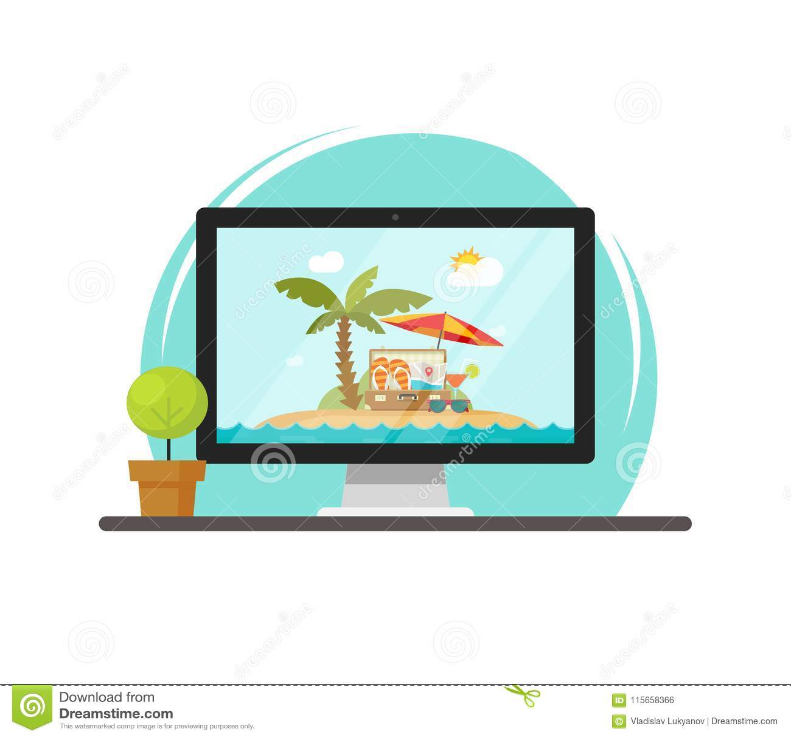 Online reis via computer vectorillustratie, concept online reis en reis het boeken via PC, vlak beeldverhaal