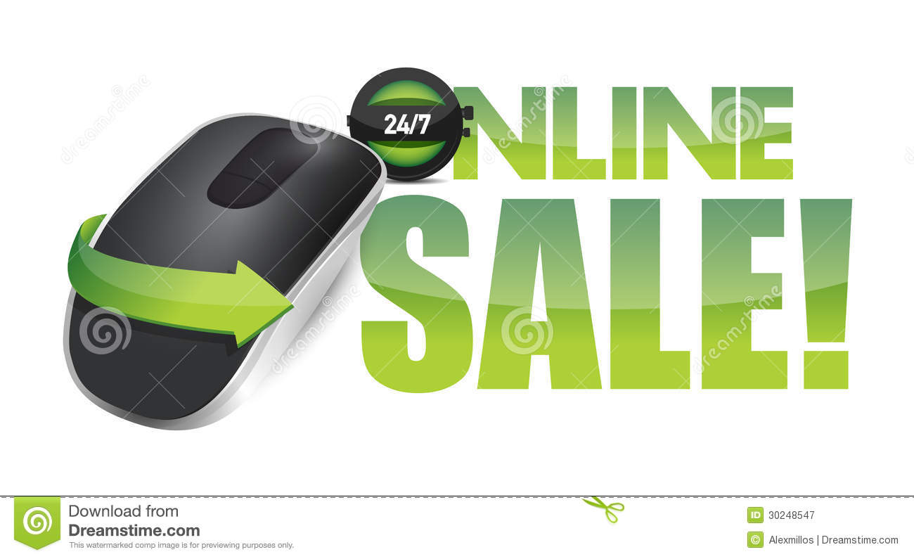 45b19163587 Online Sale Sign And Wireless Computer Mouse Stock Illustration ...