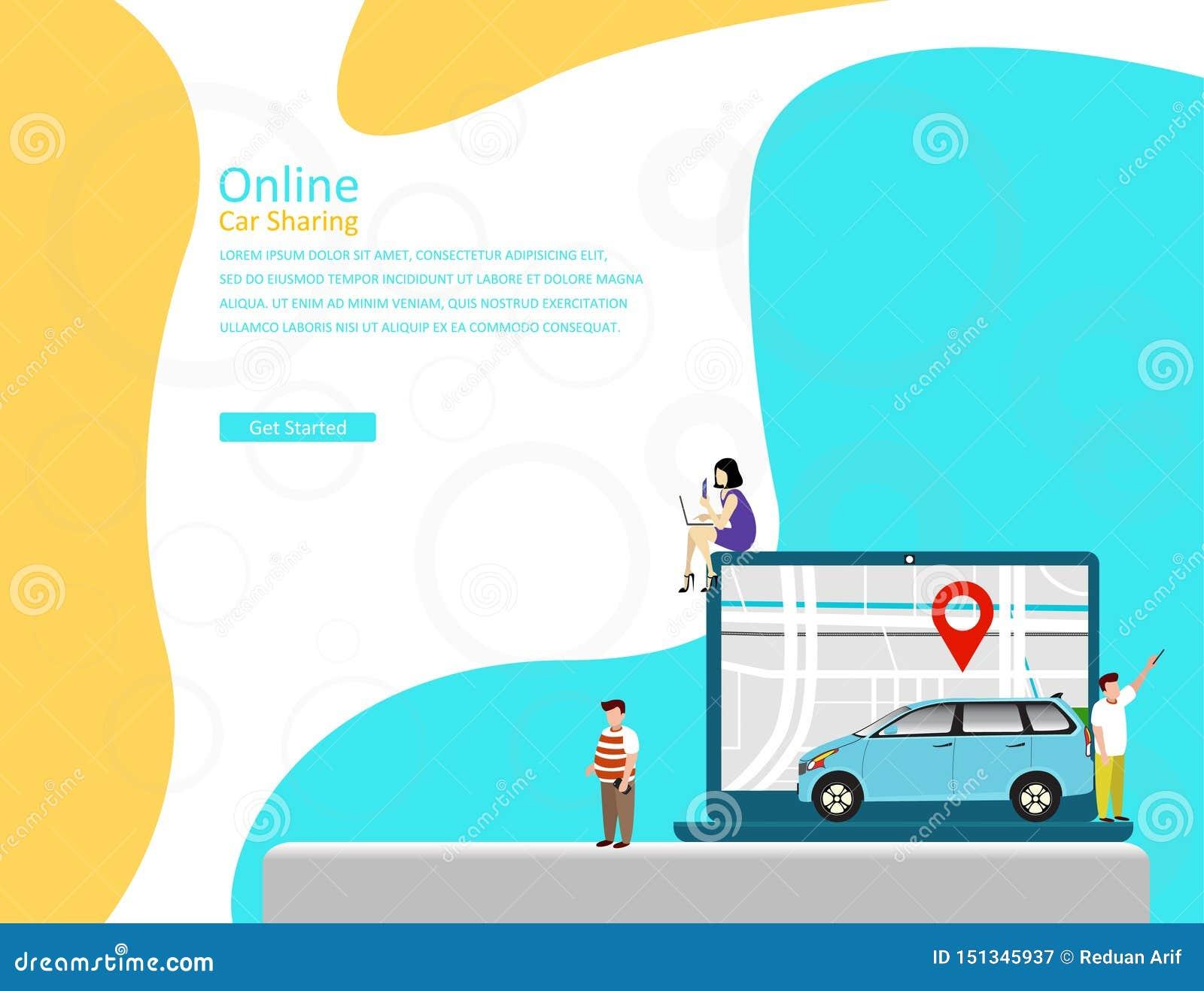 Online samochodowego udzielenia wektorowy ilustracyjny pojęcie, mobilny miasto transport z postacią z kreskówki