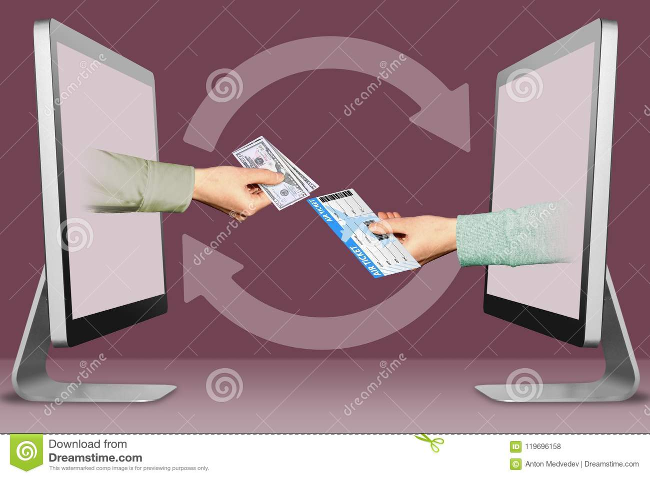 Online Sell Tickets Concept, Two Hands From Computers  Hand With